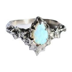 14 Karat White Gold Vintage Inspired Pear Opal Ring