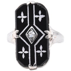 14 Karat White Gold Vintage Onyx and Diamond Ring