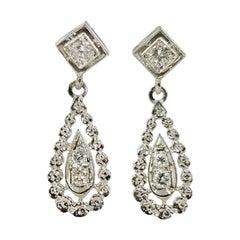14 Karat White Gold Vintage Pear Drop Diamond Earrings