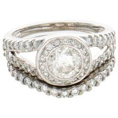 14 Karat White Gold Wedding Set with 1.54 Carat Center Diamond