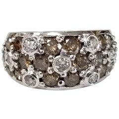 "14 Karat White Gold White and Brown Diamond ""Domed"" Ring"