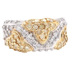14 Karat White Gold White and Yellow Diamond Band