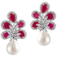 14 Karat White Gold White Diamond South Sea Pearl Ruby Stud Earrings