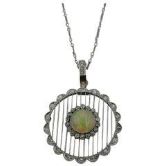 14 Karat White Gold White Opal and Single Cut Diamond Pendant and Pearl Enhancer