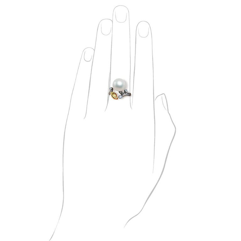 Contemporary 14 Karat White Gold White South Sea Pearl and Diamonds Cocktail Ring For Sale