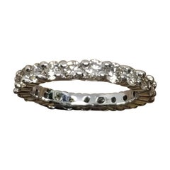 14 Karat White Gold Wide Diamond Eternity with Shared Prongs