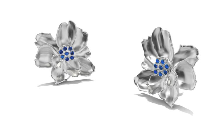 Round Cut 14 Karat White Gold Wild Flower Earrings with Sapphires For Sale