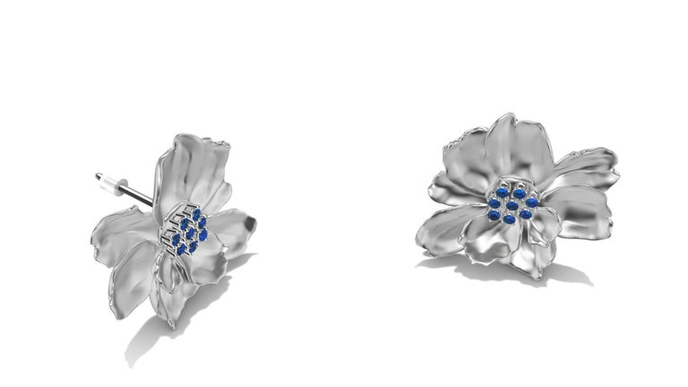 Women's 14 Karat White Gold Wild Flower Earrings with Sapphires For Sale