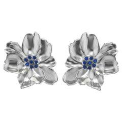 14 Karat White Gold Wild Flower Earrings with Sapphires