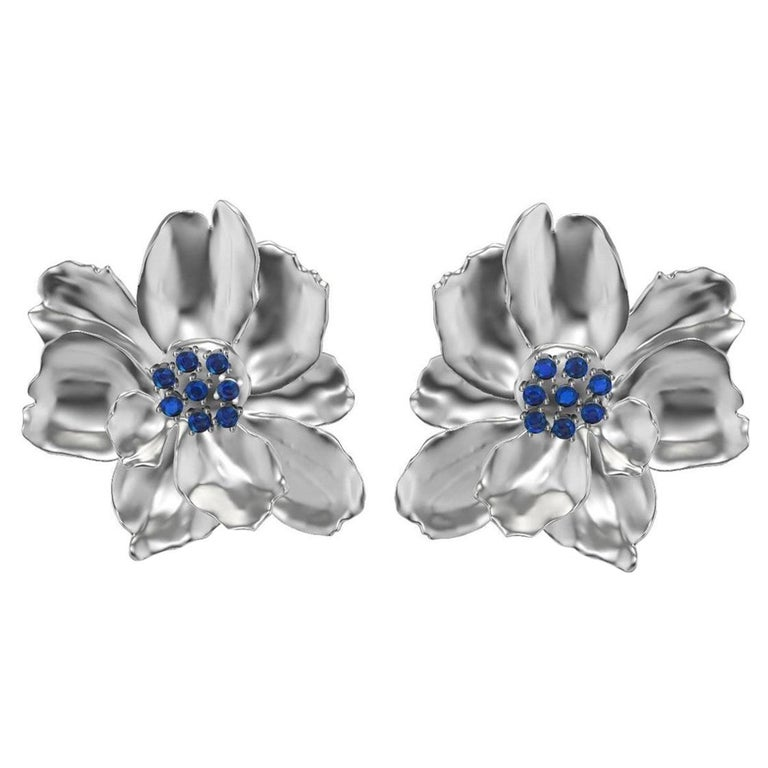 14 Karat White Gold Wild Flower Earrings with Sapphires For Sale