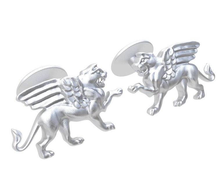 Tiffany designer , Thomas Kurilla created this for 1st dibs exclusively. 14 Karat White Gold Winged Griffin Cufflinks  Sculpture is my passion. This griffin is getting ready to take on his enemy 4 teeth and all.  20 mm wide x 11.5 mm high x 3mm