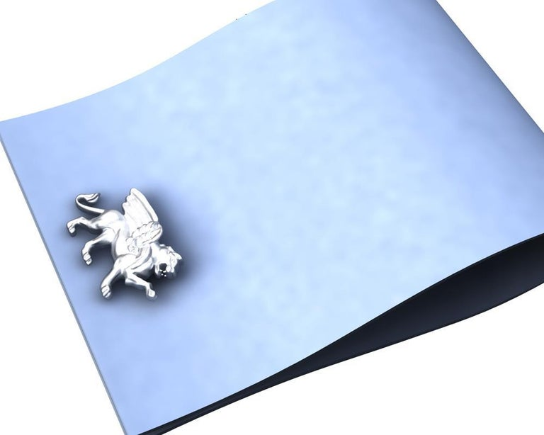 Contemporary 14 Karat White Gold Winged Griffin Cufflinks For Sale