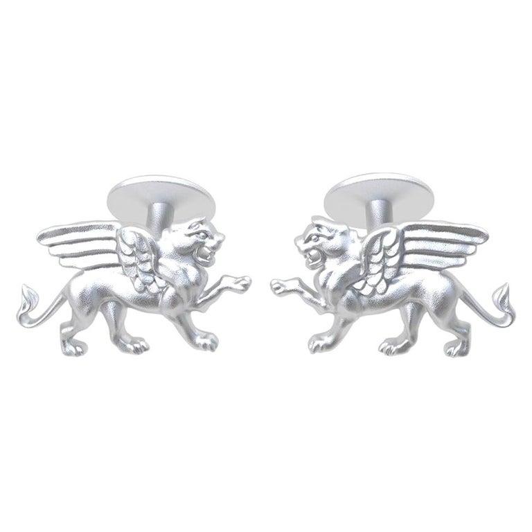 Platinum Winged Griffin Cufflinks For Sale