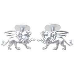 14 Karat White Gold Winged Griffin Cufflinks