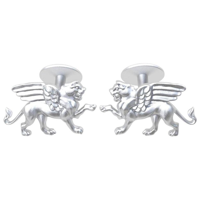 14 Karat White Gold Winged Griffin Cufflinks For Sale