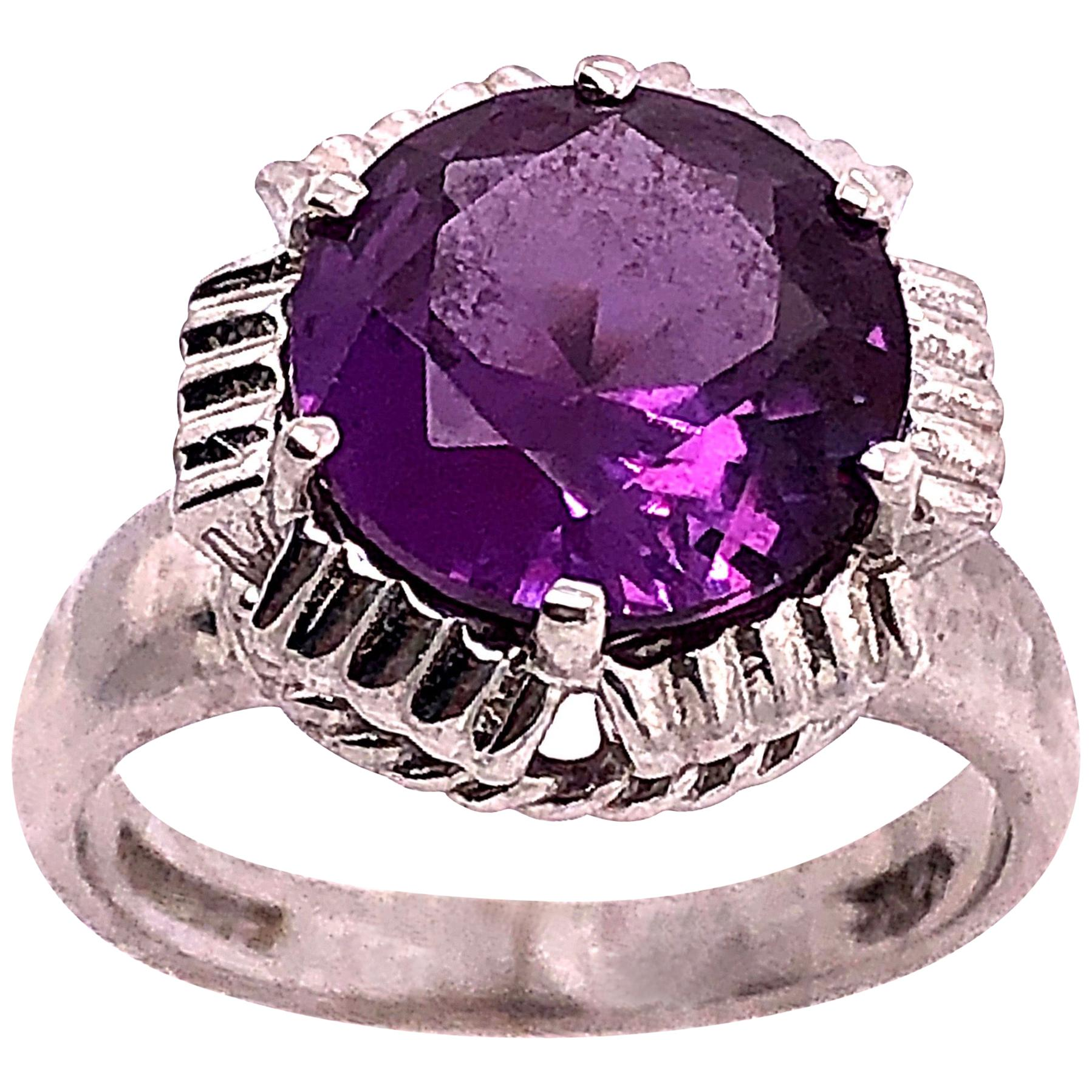 14 Karat White Gold with Round Amethyst Solitaire Ring