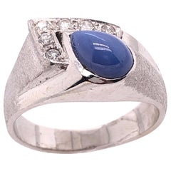 14 Karat White Gold With Teardrop Sapphire Cabochon Ring with Diamond Accents