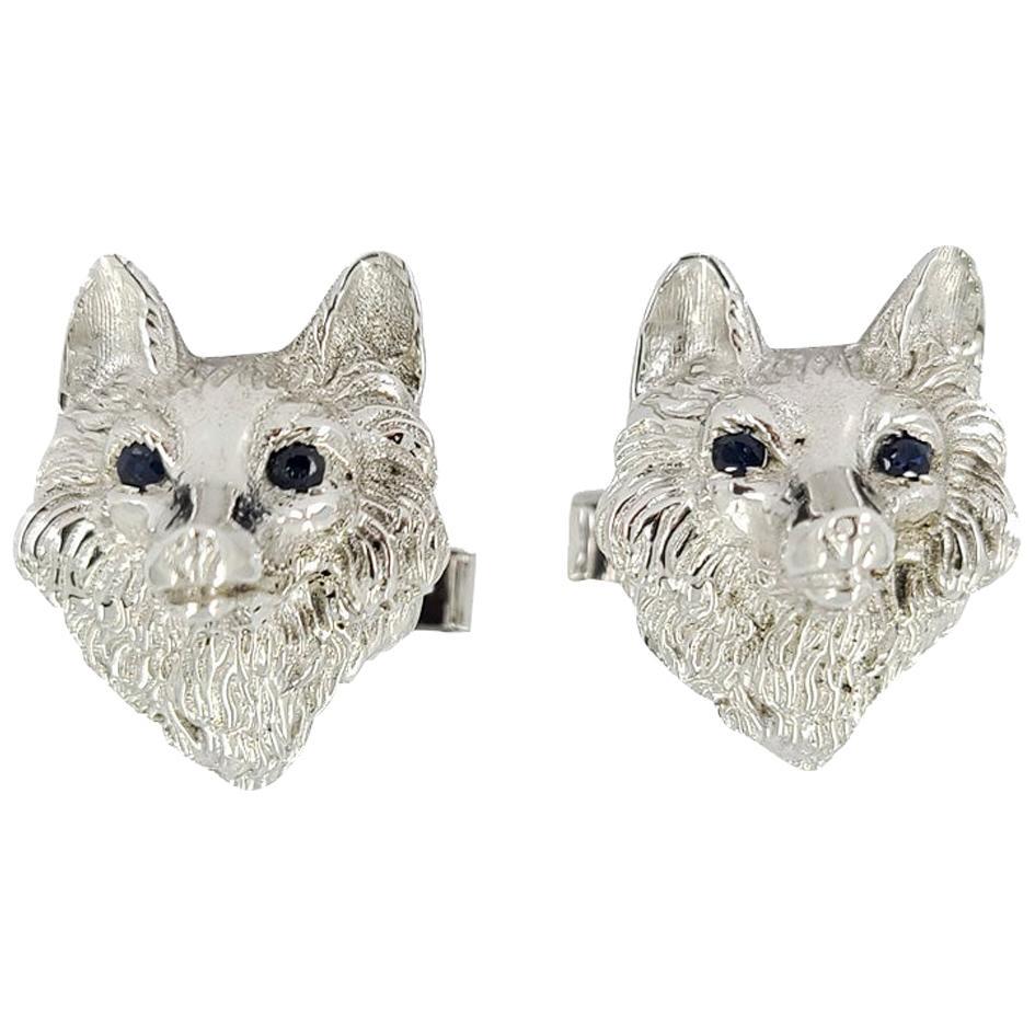 14 Karat White Gold Wolf Cufflinks with Sapphire Eyes