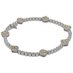 Natural Yellow and White Diamond Link Bracelet 14 Karat Gold