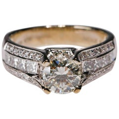 14 Karat White Gold Yellow Diamond Halo Engagement Ring Designed by Natalie K