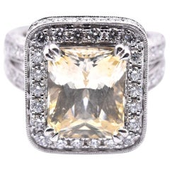 14 Karat White Gold Yellow Sapphire and Diamond Ring