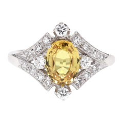 14 Karat White Gold, Yellow Sapphire and Diamond Ring