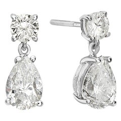 14 Karat White Pear Diamond Drop Earrings