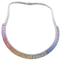14 Karat White Rainbow Sapphire Collar Necklace