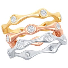 14 Karat White, Rose, and Yellow Gold Diamond Rings