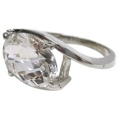 14 Karat White Sapphire Cocktail Ring