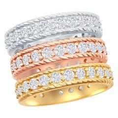 14 Karat White, Yellow, and Rose Gold Diamond Eternity Rings