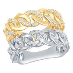 14 Karat White, Yellow Diamond Link Rings