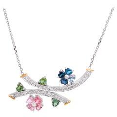 14 Karat White Yellow Gold Diamond Heart Shape Green Pink Blue Sapphires Pendant