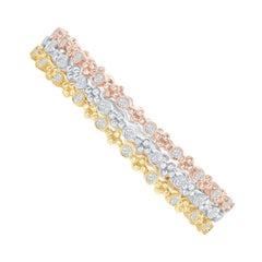 14 Karat White, Yellow, Rose Gold Diamond Bangles
