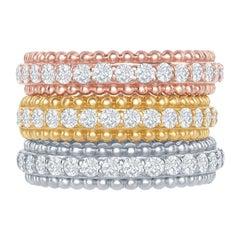 14 Karat White, Yellow, Rose Gold Diamond Beaded Rings