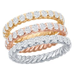 14 Karat White, Yellow, Rose Gold Diamond Eternity Rope Rings