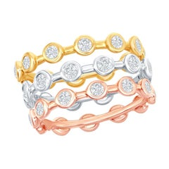 14 Karat White, Yellow, Rose Gold Diamond Stack Bezel Rings