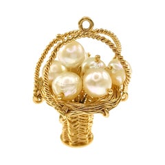 14 Karat Woven Wire Basket Cultured Pearls Pendant