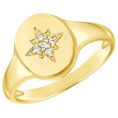 14 Karat Yellow 0.02 Carat Diamond Pinky Signet Ring