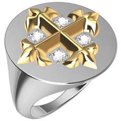 14 Karat Yellow and 14 Karat White West 46 Diamond Cross Signet Ring