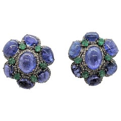 14 Karat Yellow and Blackened Gold Tanzanite Post Earrings with Diamonds
