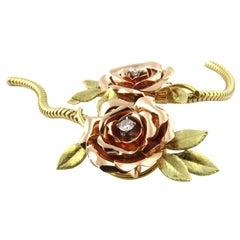 14 Karat Yellow and Rose Gold Rose Necklace