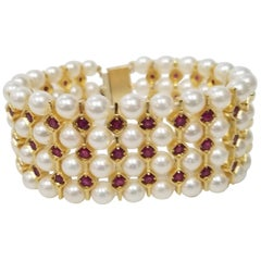 14 Karat Yellow and Silver Gold-Plated 4-Row of Cultured Pearl and Ruby Bracelet