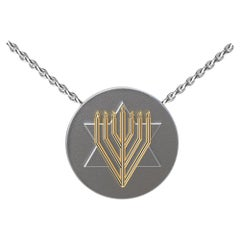 14 Karat Yellow and Sterling Silver Judaica Art Pendant Necklace