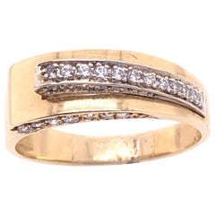 14 Karat Yellow and White Gold and Diamond Contemporary Ring