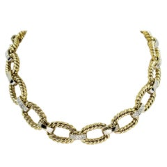 14 Karat Yellow and White Gold and Diamond Rope Link Collar Necklace