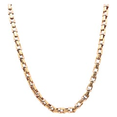 14 Karat Yellow and White Gold Baraka Brev Luxury Heavy Link Necklace