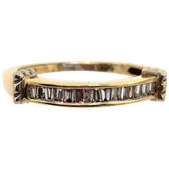 14 Karat Yellow and White Gold Bridal Band Ring with Baguette Diamonds