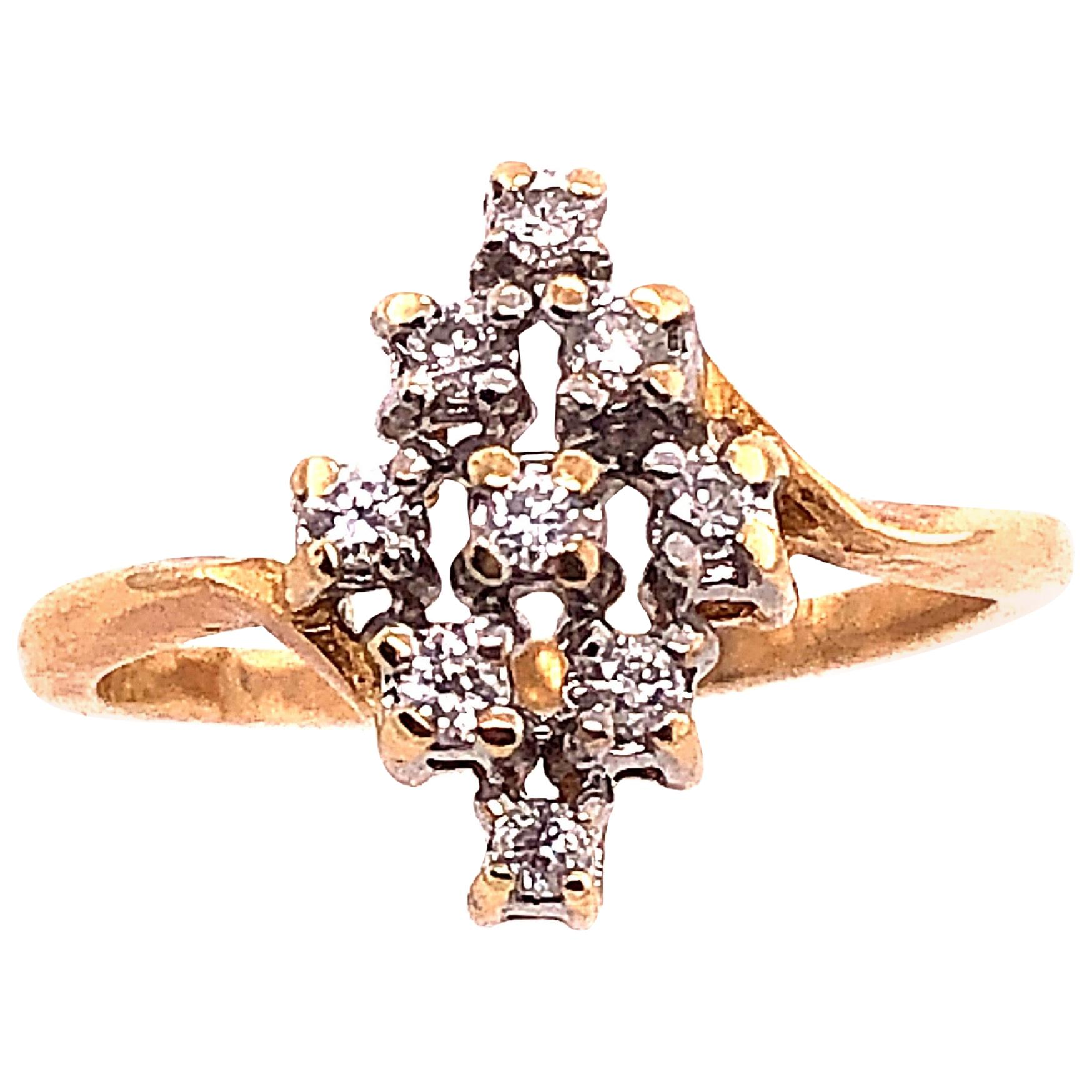 14 Karat Yellow and White Gold Contemporary Ring with Diamonds