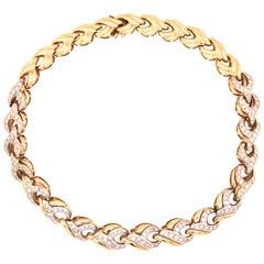 14 Karat Yellow and White Gold Diamond Collar Necklace